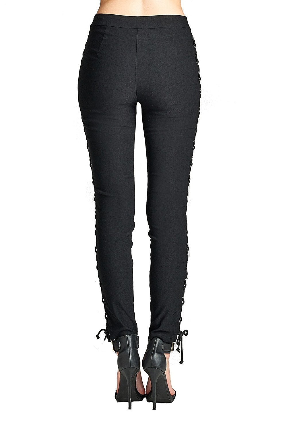 Khanomak Plain Stretch High Rise Waist Side Lace Up Front Single Button Long Skinny Legging Pants