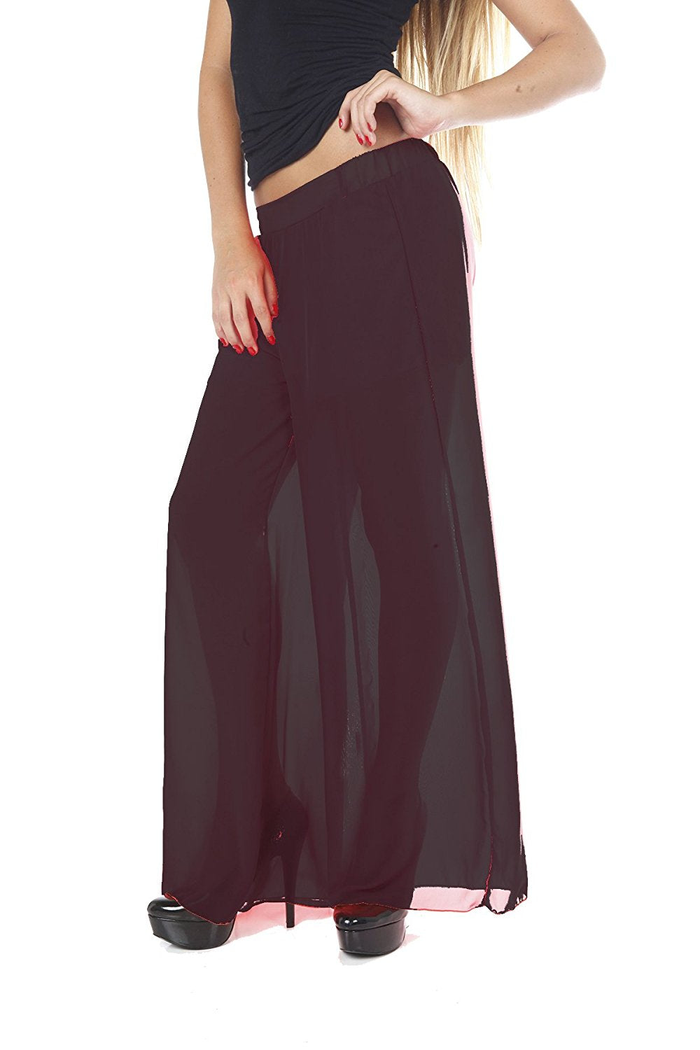 Hollywood Star Fashion Women's Full Length Chiffon Wide Pants with Shorts