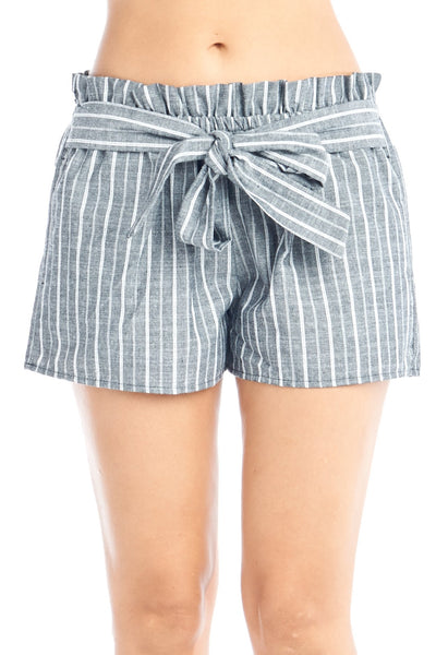 Women's Casual High-Rise Striped Self-Tie Ribbon Bow Elastic Stretch Paper Bag Waist Shorts