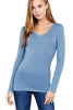 Women's Basic Long Sleeve V Neck T-Shirt Cotton Tee Top