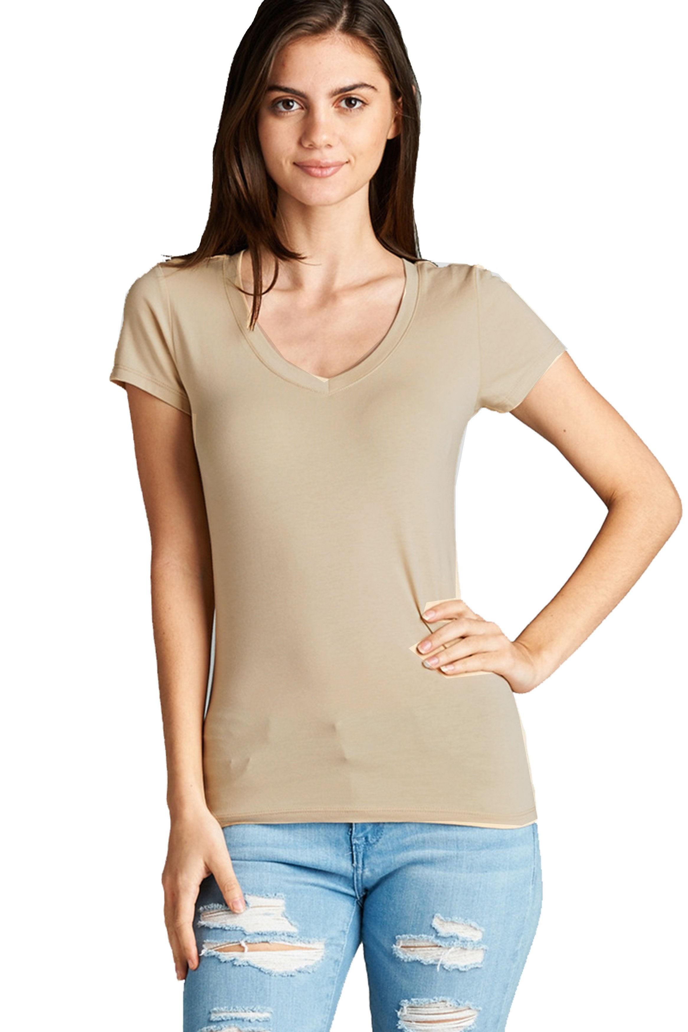 Women's Casual Basic Deep V-Neck Short Sleeve T-Shirt