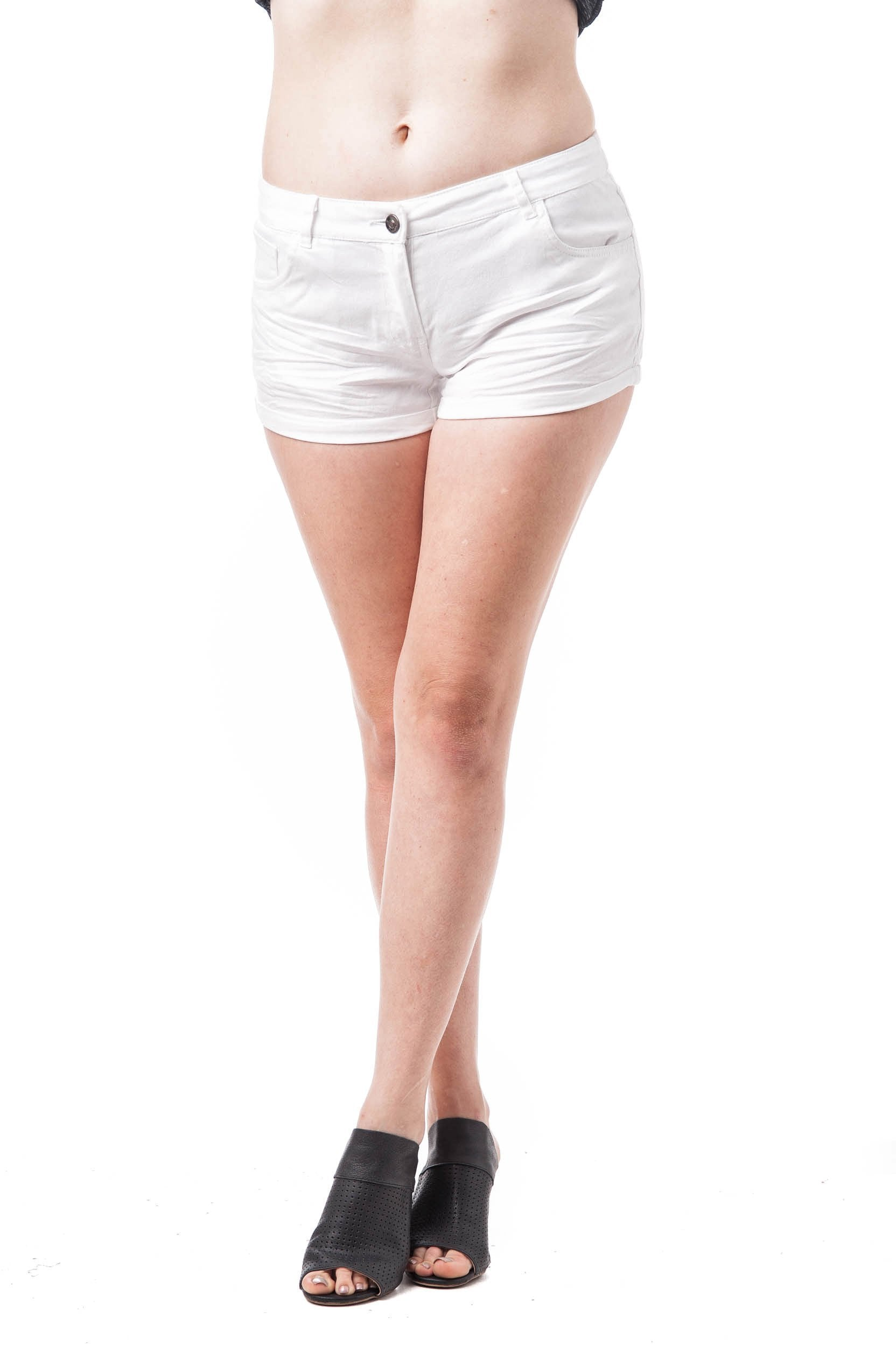 Low Rise Solid Cuffed Woven Shorts