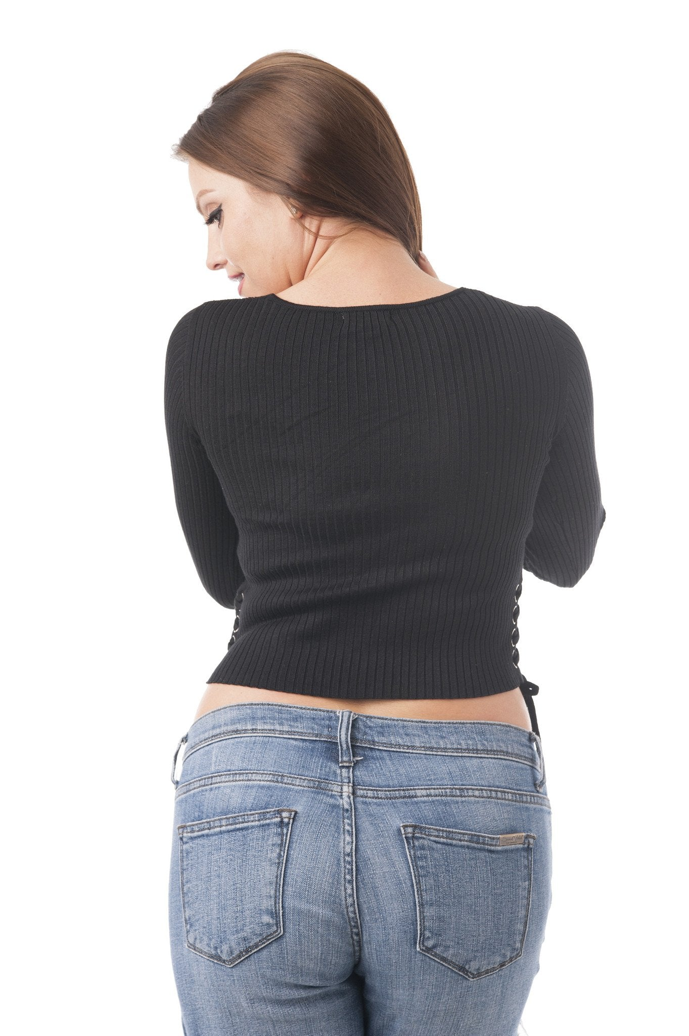 Long Sleeve Ribbed V Neck Crop Top Laced up to the Sides
