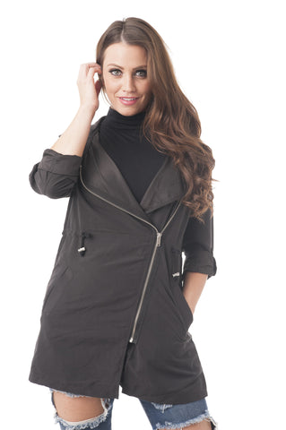 Asymmetrical Utility Jacket with Hoodie and Drawstring to the Front