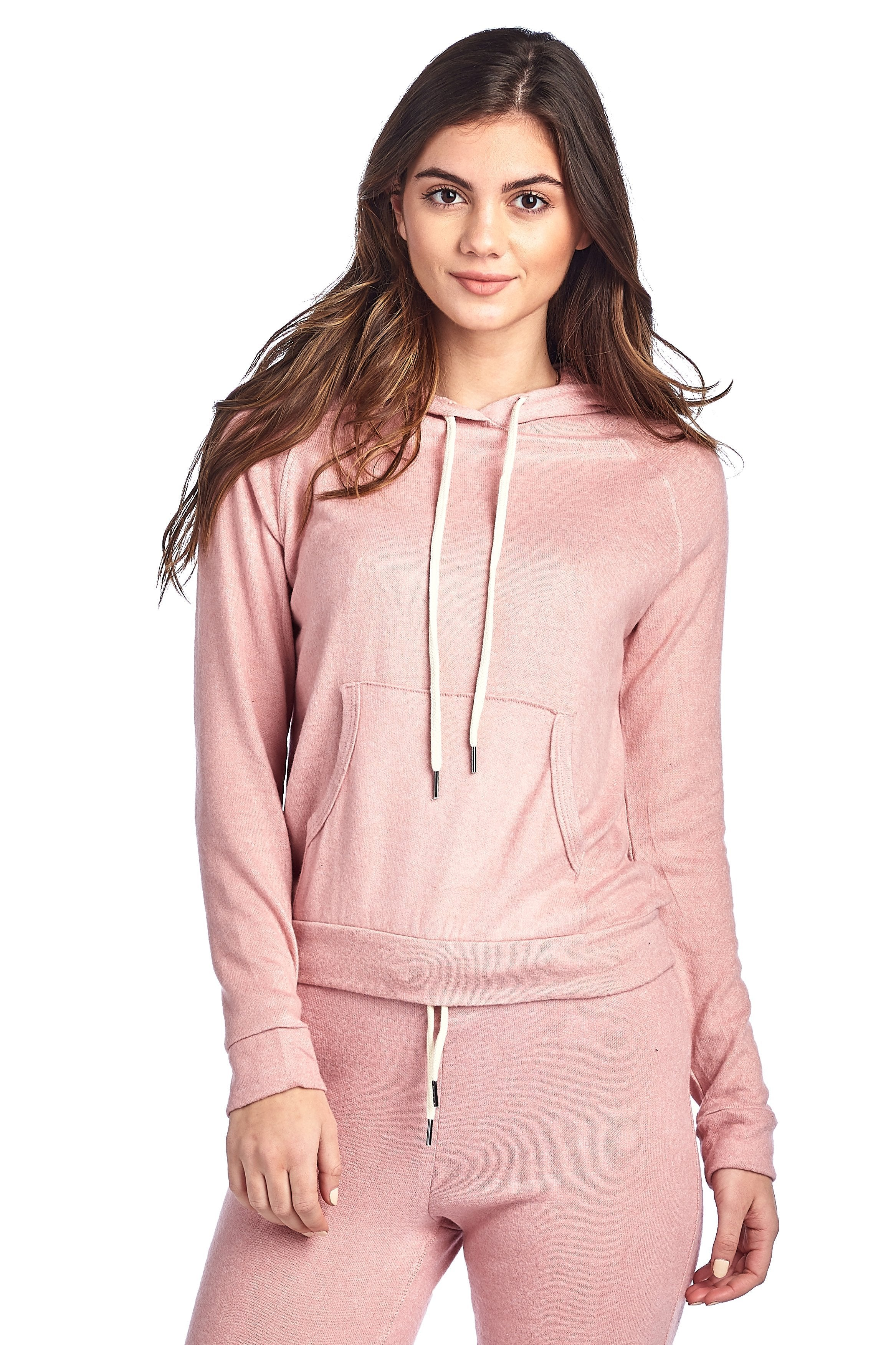 Light Weight Long Sleeve Brushed Drawstring Hoodie Pullover Sweater Top