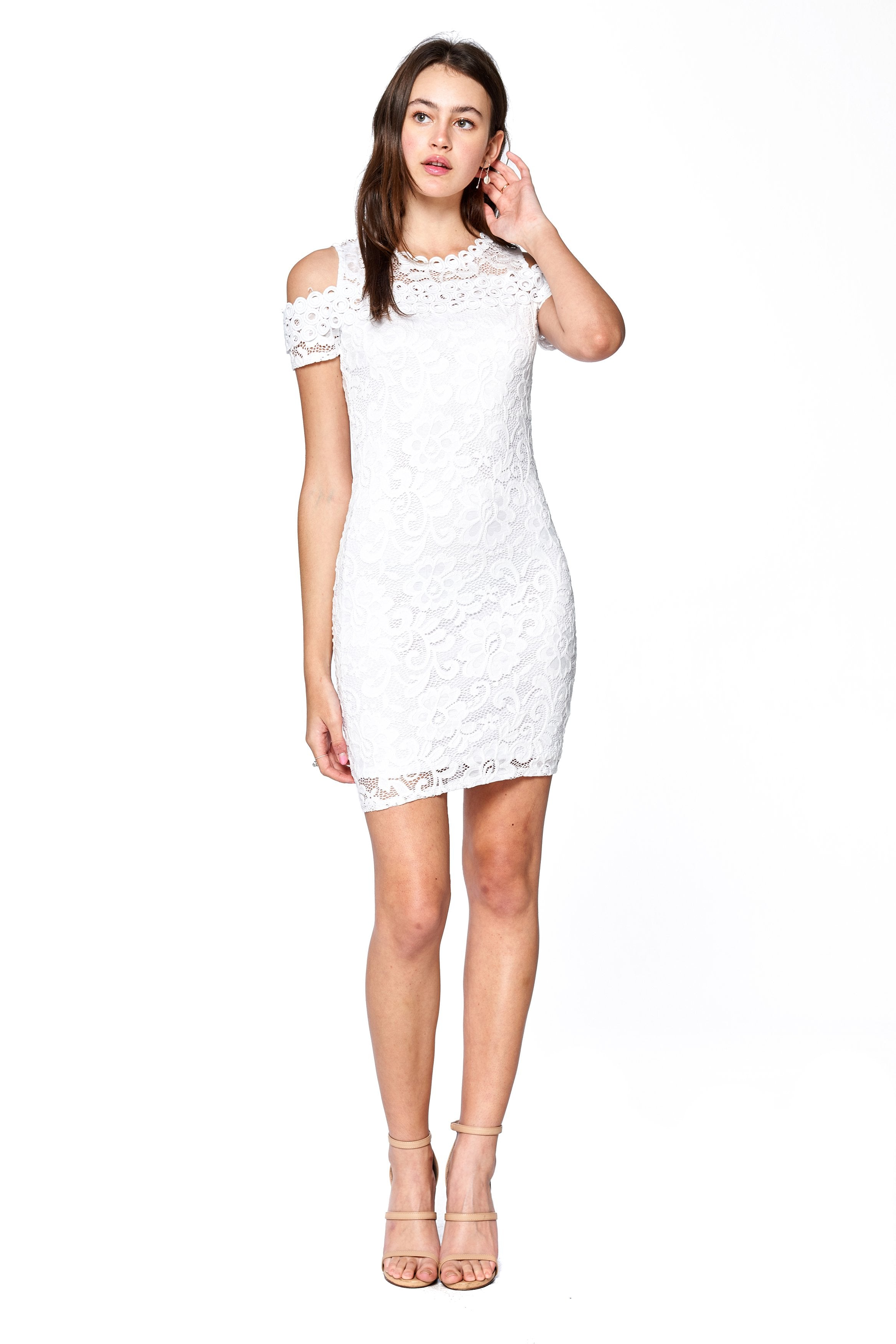 Khanomak Women's Short Sleeve Cold Shoulder Lace Bodycon Dress