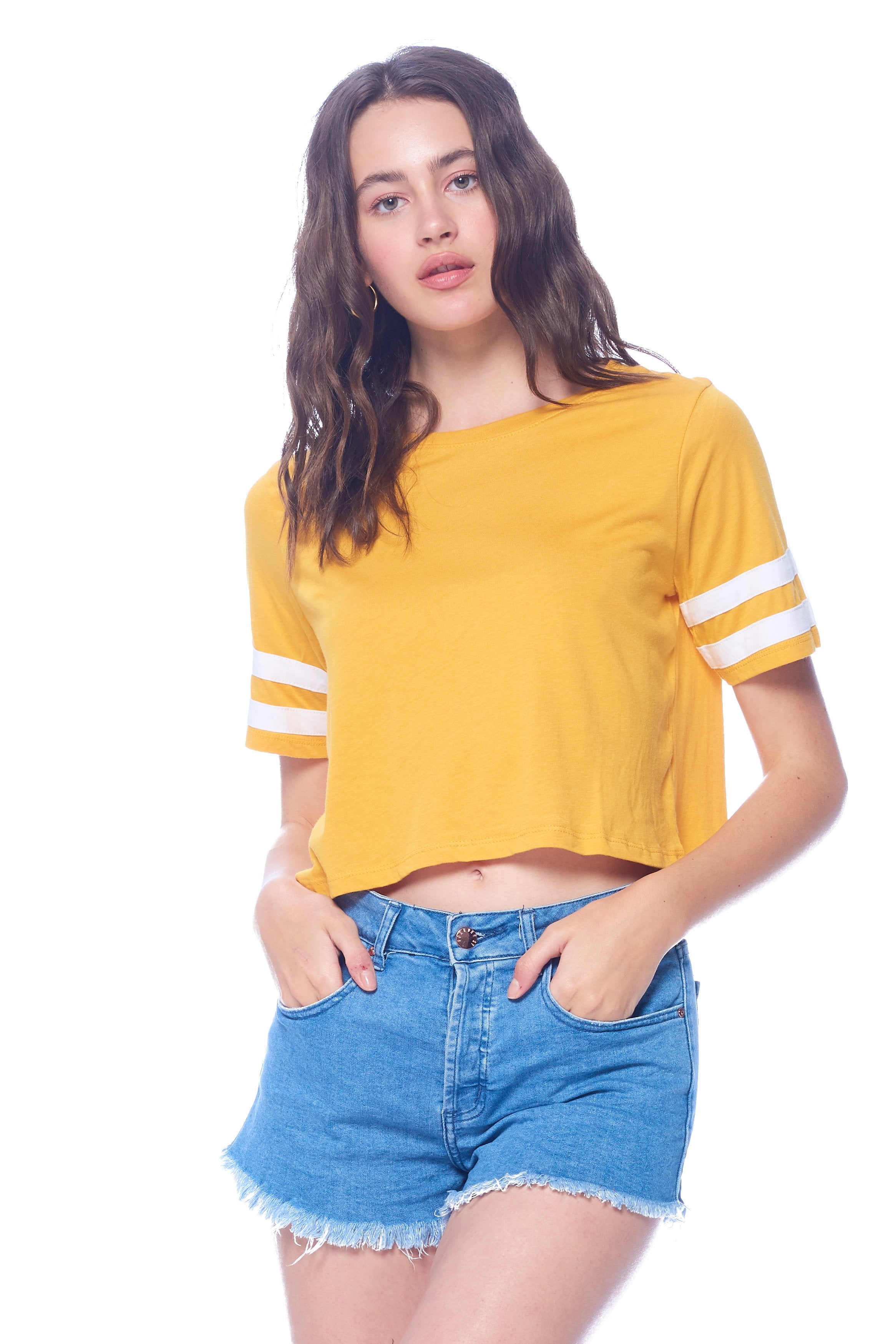 Khanomak Women's Varsity Short Sleeves Stripe Solid Tee Shirt Crop Top