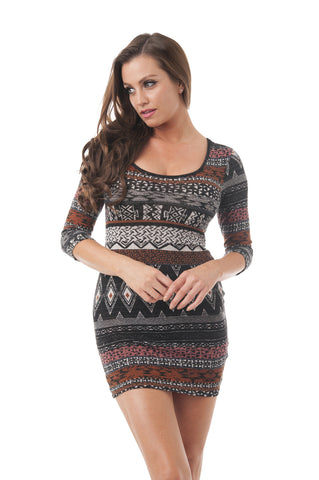 Aztec Print 3/4 Sleeve Mini Dress