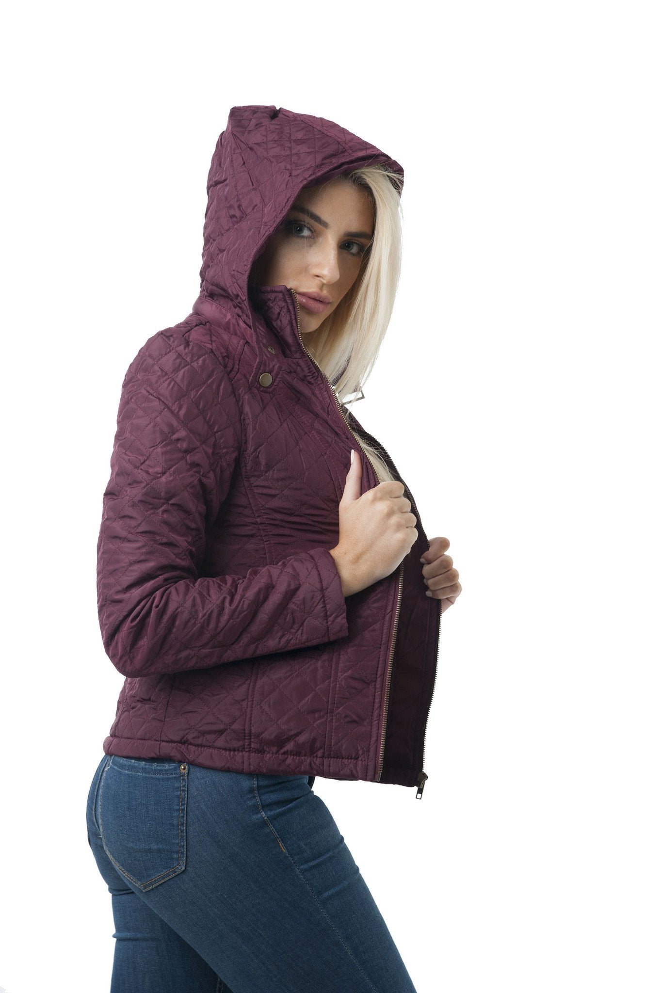 Long Sleeve Quilted Hood Jacket with Faux Fur Lining