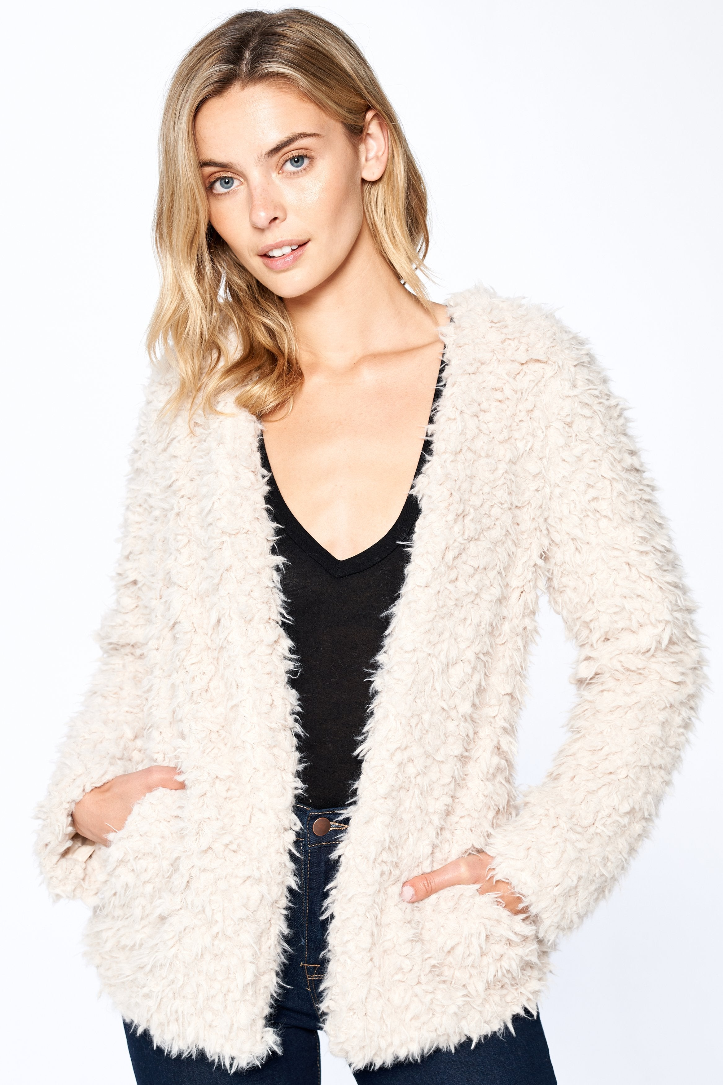 Women's Vintage Soft Fluffy Long Sleeve Elegant Faux Fur Coat Jacket