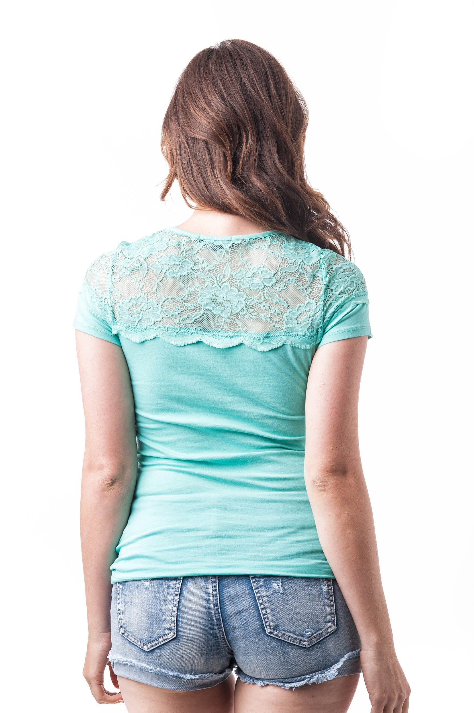 Short Sleeve Round Neck Lace Top