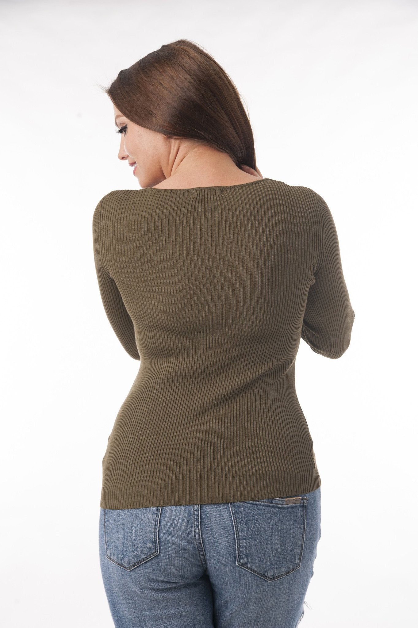 Long Sleeve V Neck Ribbed Sweater