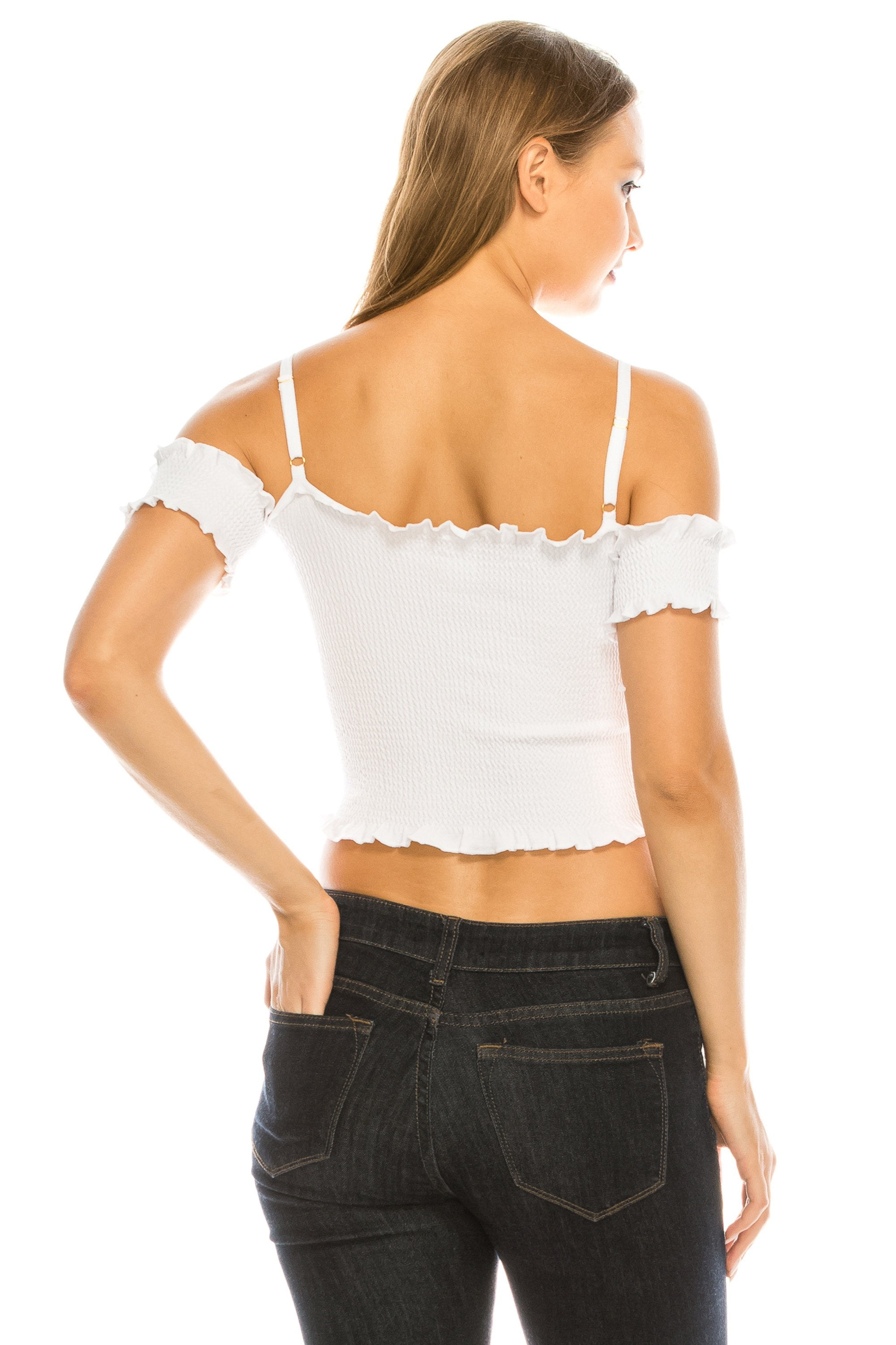 Women's Sinched Smocked Lettuce Hem Tacked Sleeves Strappy Crop Top