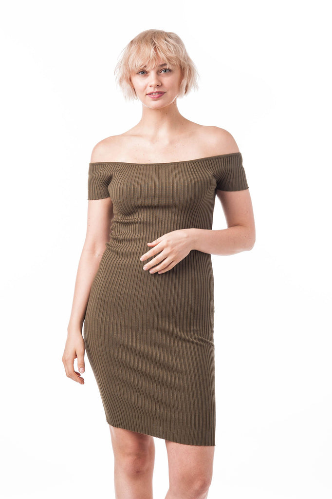 Off The Shoulder Short Sleeve Sweater Dress (Olive)