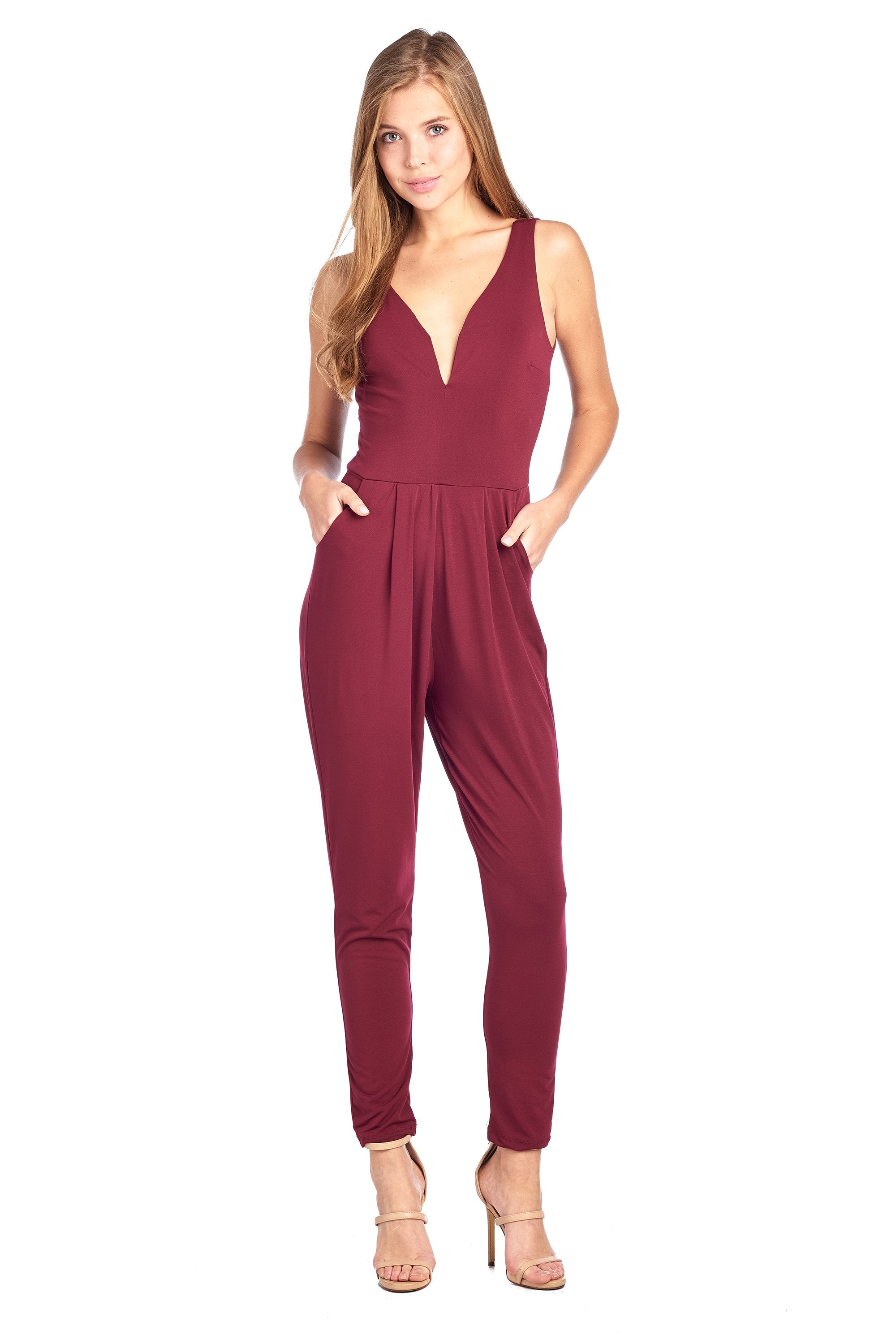 Solid Sleeveless Deep V-wire Neck Slanted Front Pockets Slip On Jumpsuit