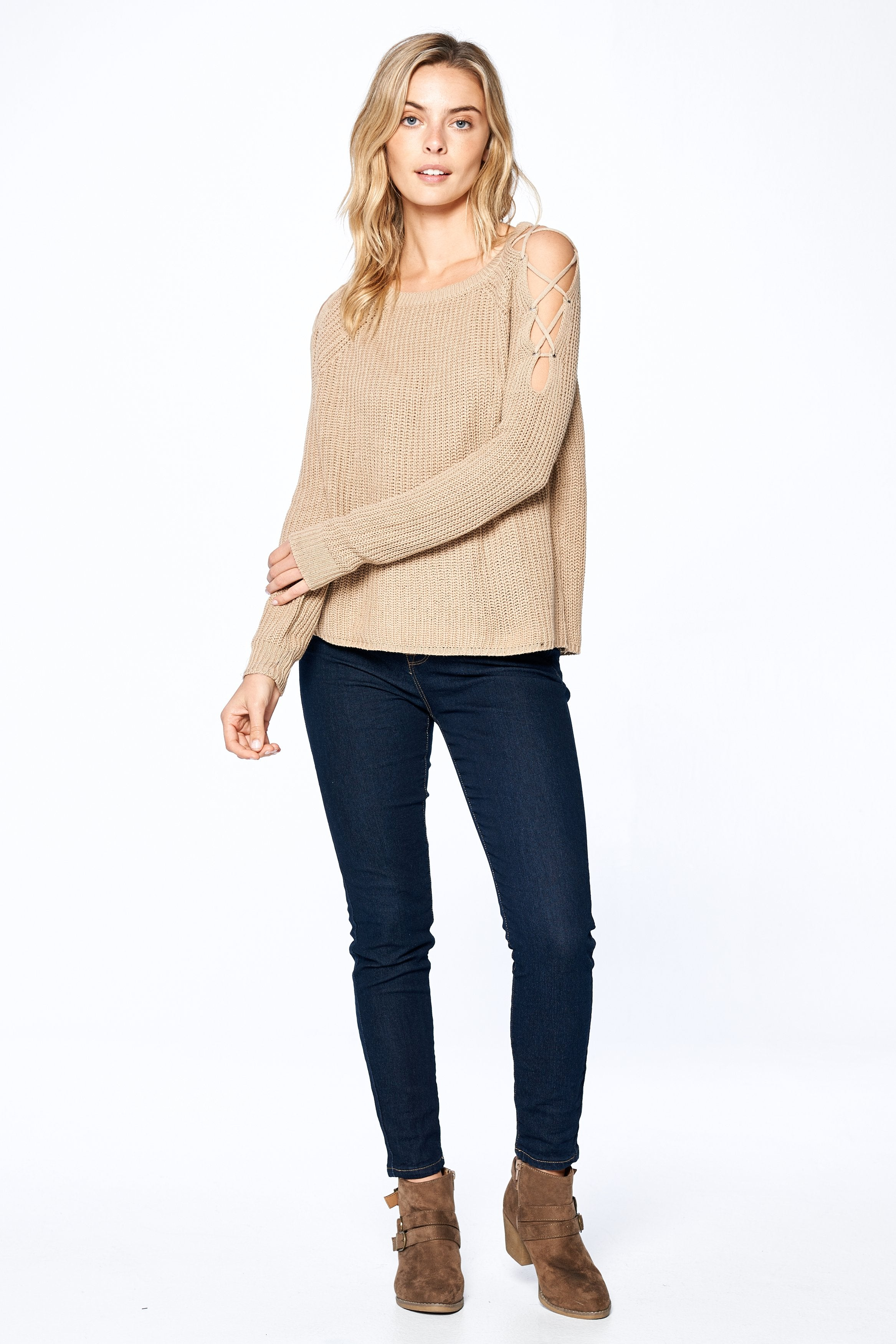 Khanomak Women's Long Sleeve Knit Open Shoulder Lace Up Sweater Top