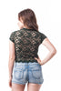 Short Sleeve Mock Neck Lace Mesh Crop Top