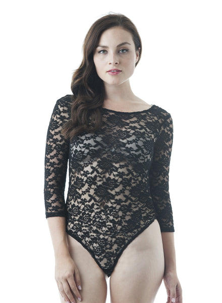 3/4 Sleeve Scoop Neck Low V Back Sheer Lace Bodysuit