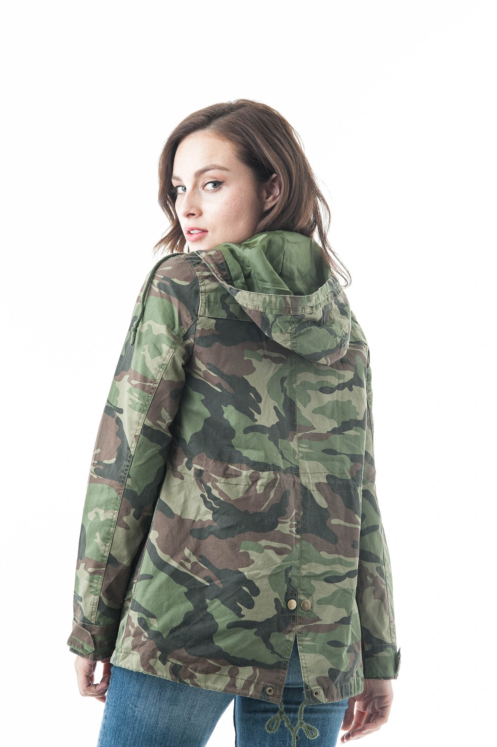Hooded Long Sleeve Camo Print Utility Anorak Drawstring Waist Zipper Long Jacket