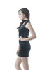 Choker V Neck Sleeveless Club Party Bodycon Crushed Velvet Cutout Mini Dress
