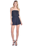 Women's Strapless Casual Smocked Ruched Stretch Tube Off Shoulder Elastic Waist Band Romper