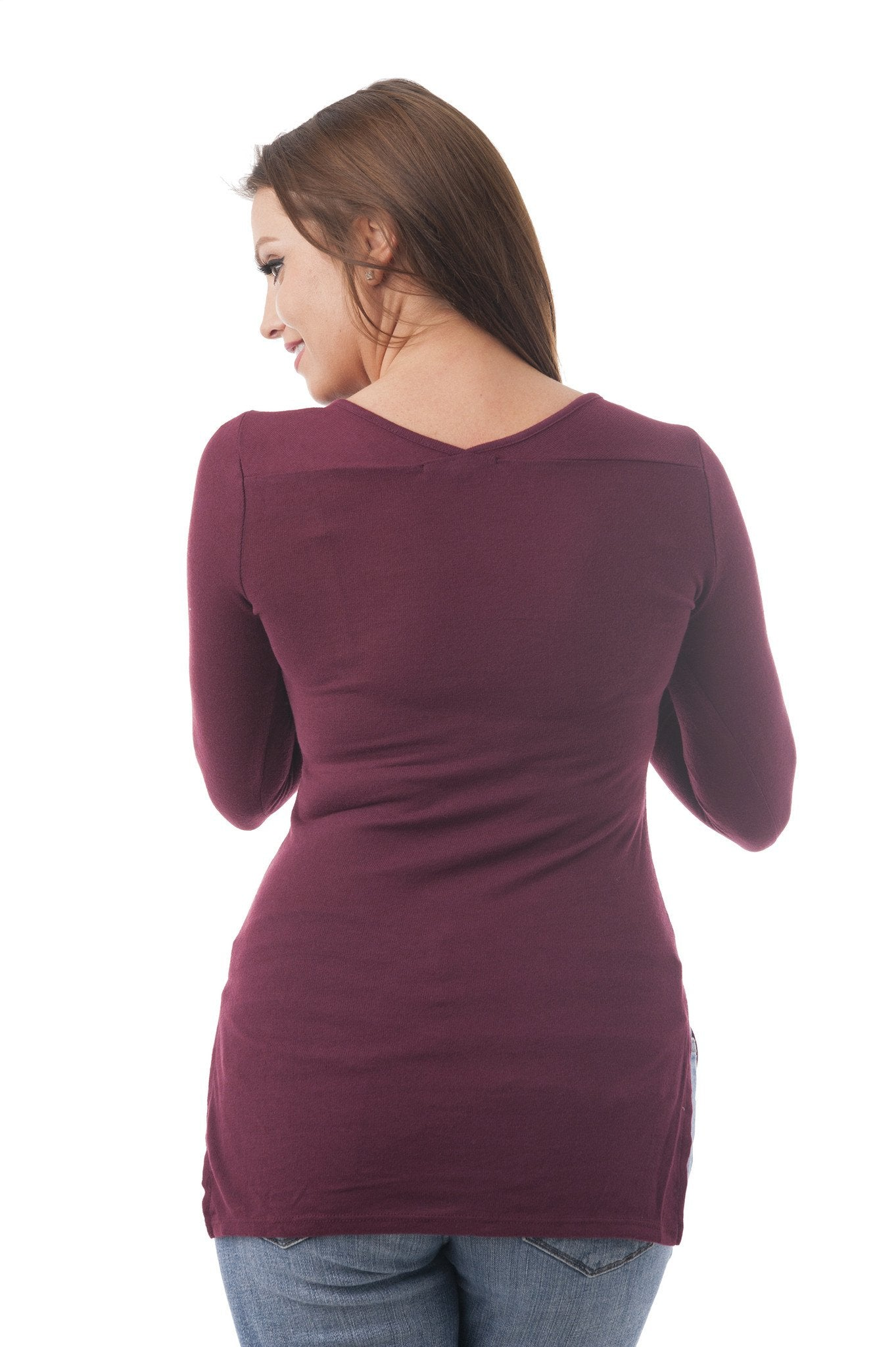 Long Sleeve V Neck Top With Split Sides