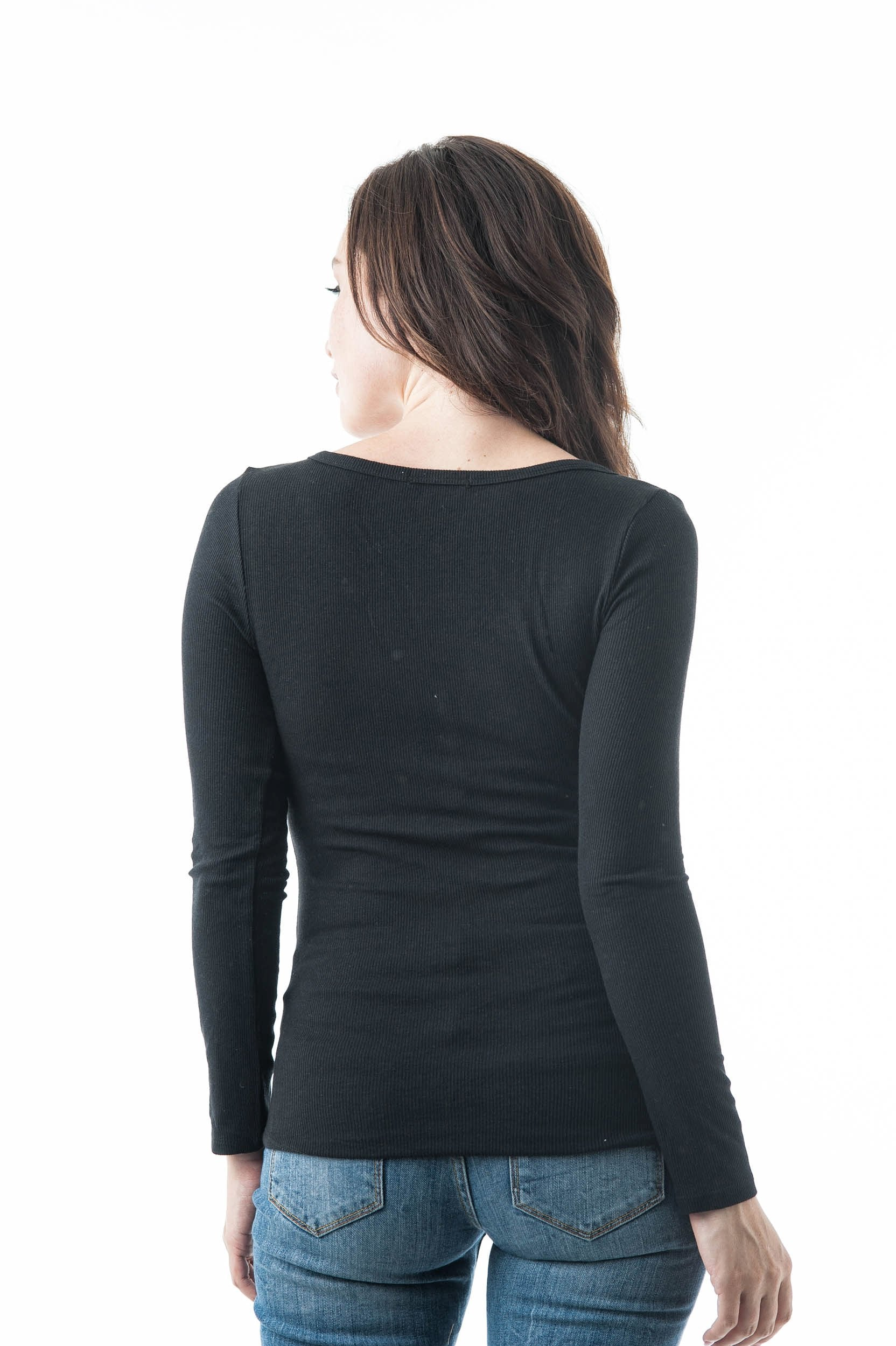 Plain Long Sleeve Ribbed V Neck Button Detail Henley Top