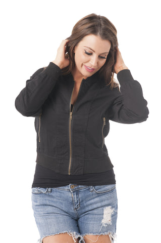 Cotton Blend Long Sleeve Bomber Jacket