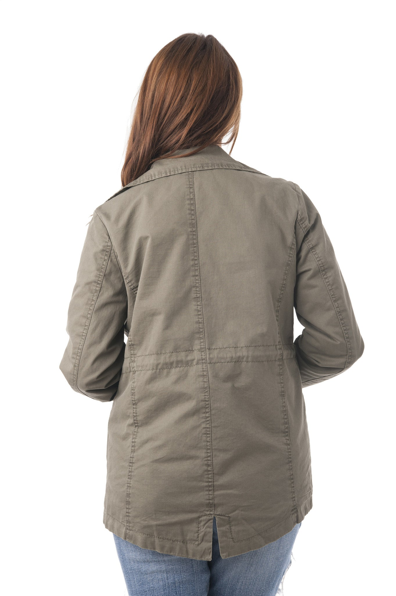 Classic Drawstring Utility Military Jacket