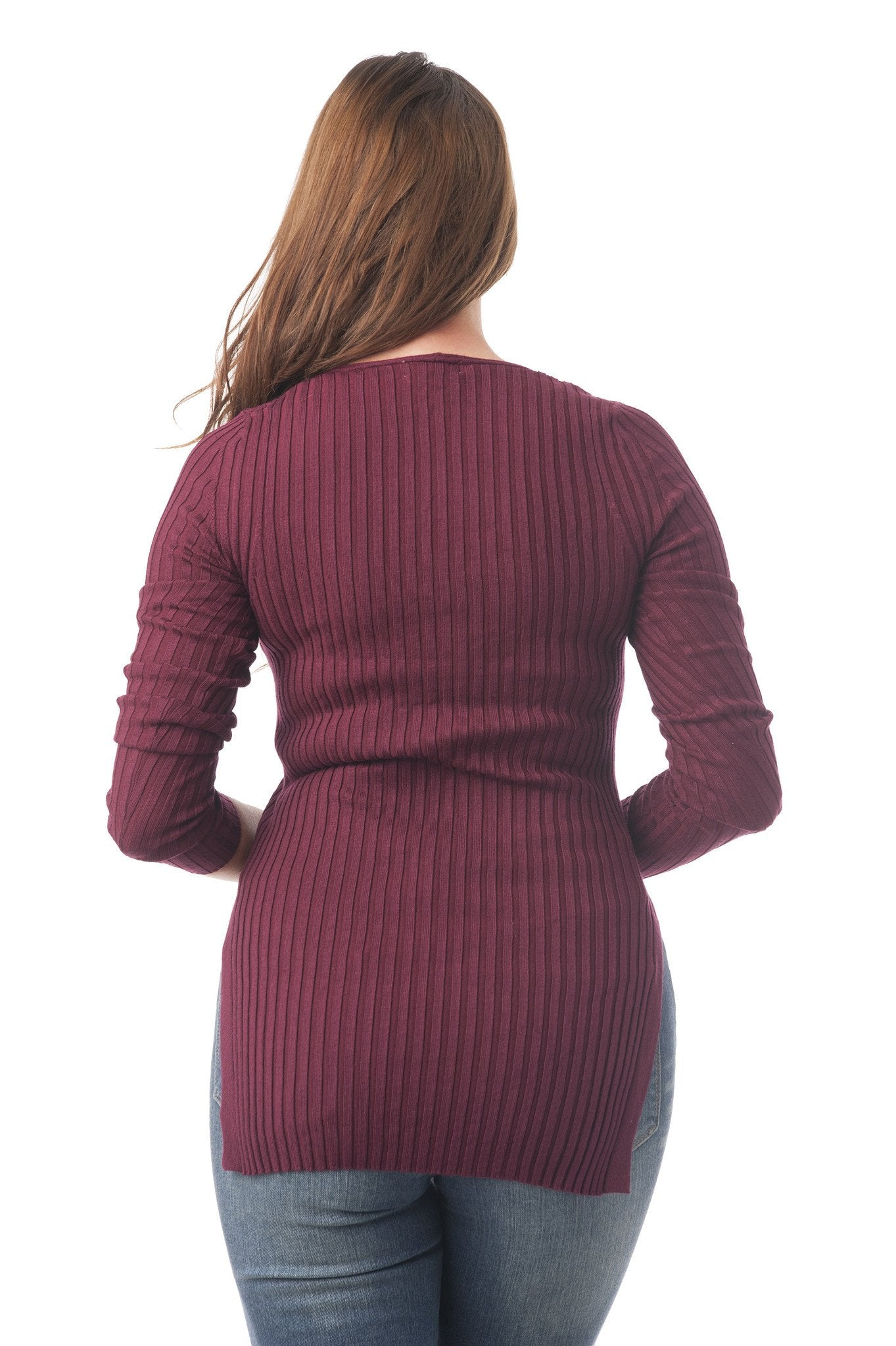 Long Sleeve Ribbed Knit V-Neck Top with Split Sides