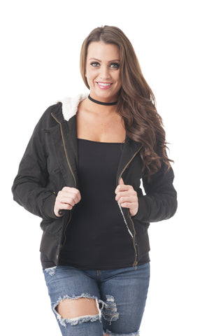 Detachable Faux Fur Bomber Jacket