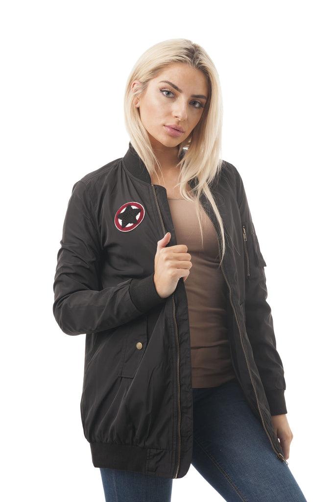 Long Sleeve Long Patch Bomber Jacket