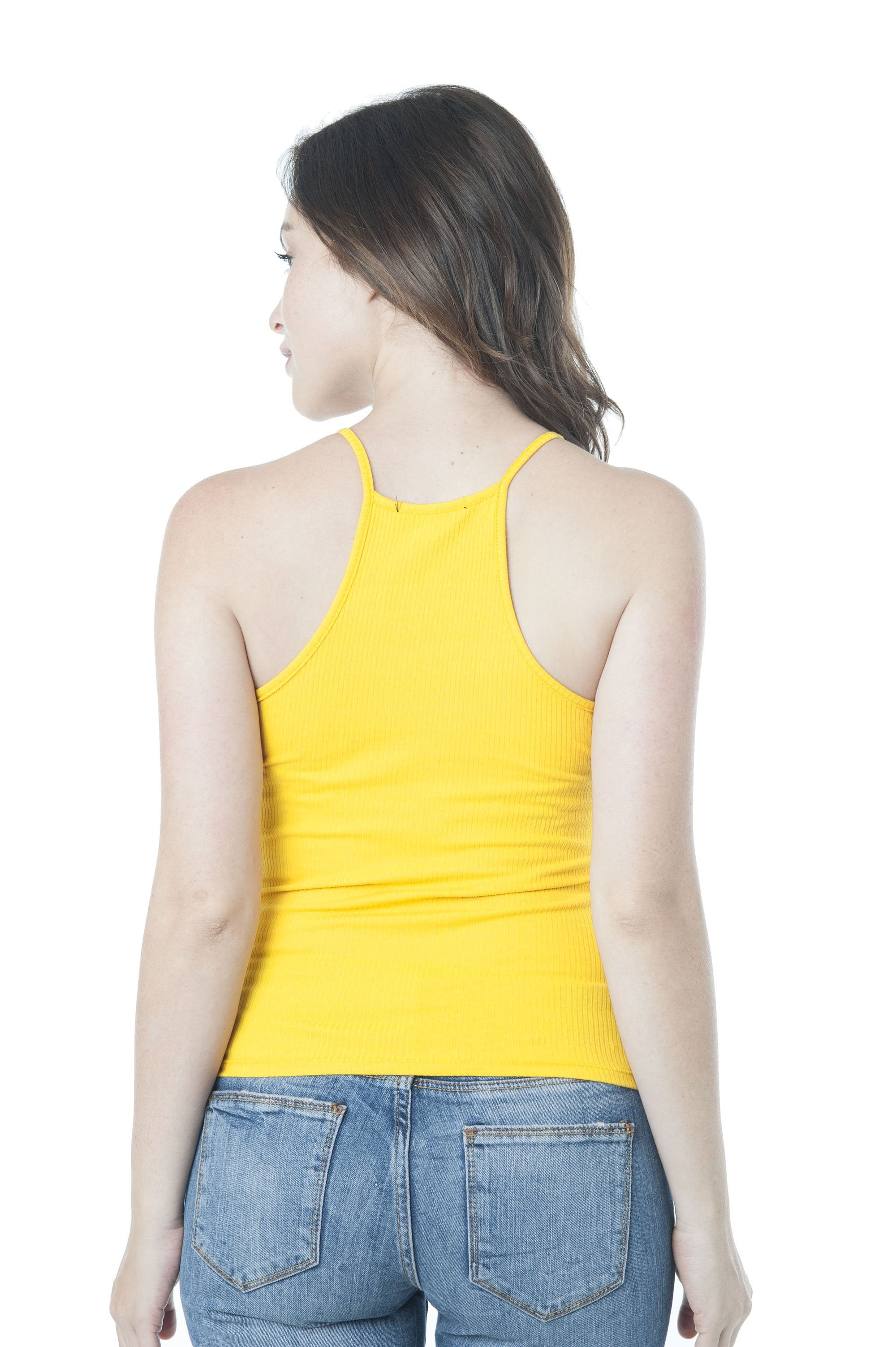 High Neck Racer Back Ribbed Cami Tank Top