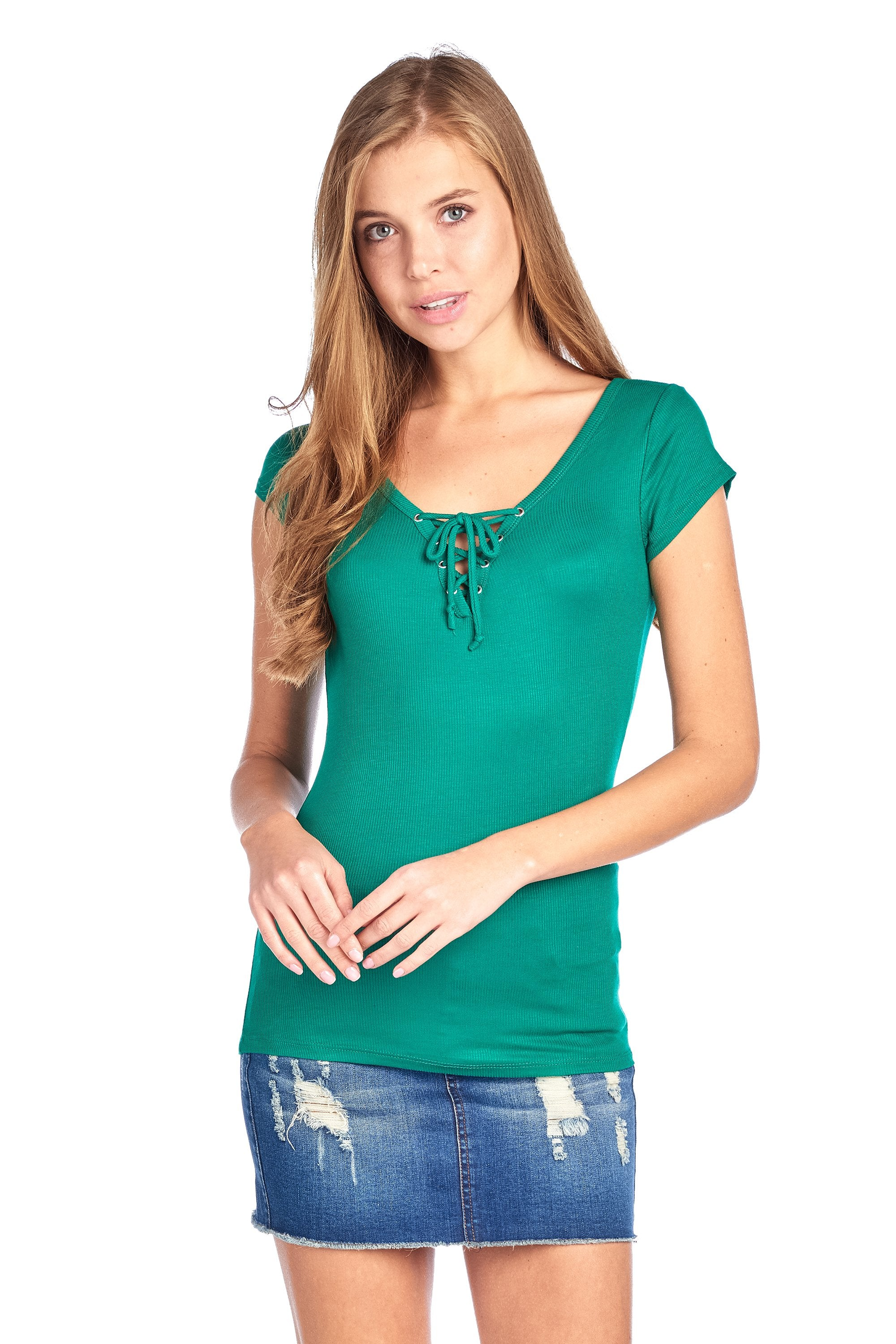 Short Cap Sleeve Ribbed V Neck Self Tie Lace Up Casual Top