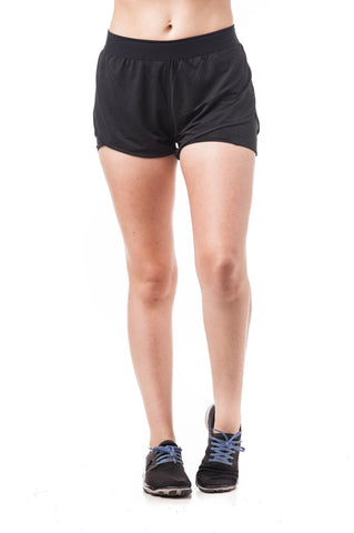 Active Wear Double Layered Mesh Elastic Waist Shorts
