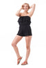 Double Ruffled Tube Top Crinkled Solid Shorts Romper