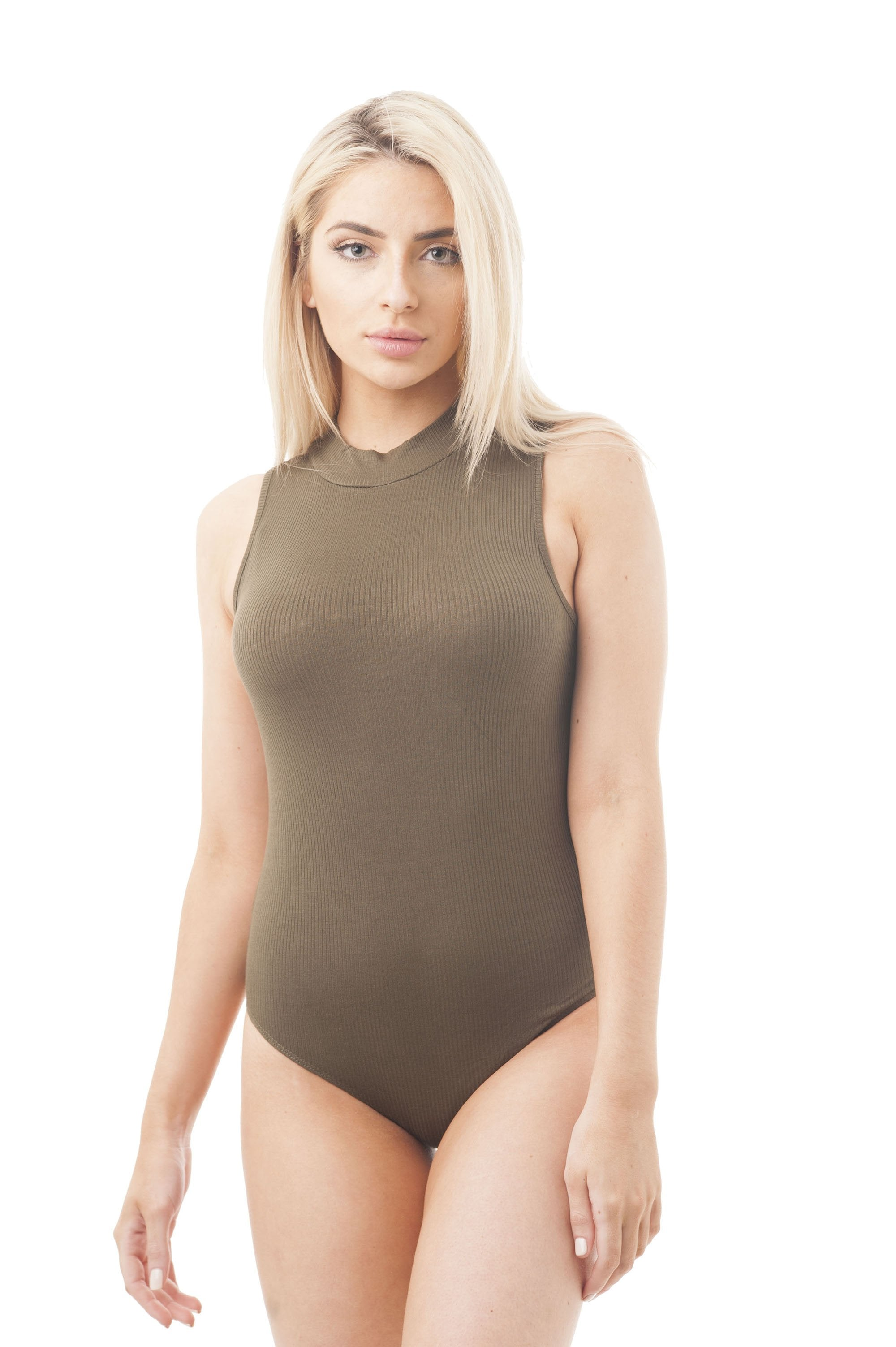 Sleeveless Ribbed Mock-Neck Bodysuit