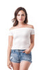 Short Sleeve Ribbed Solid Plain Off Shoulder Crop Top