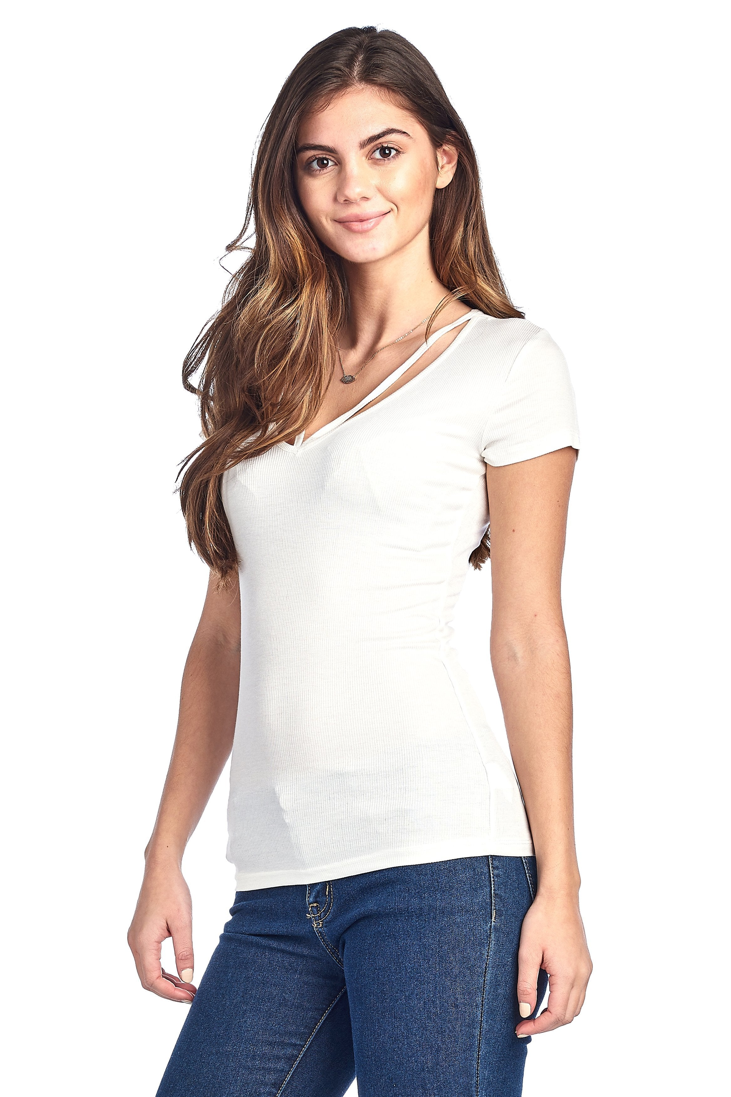 Plain Casual Stretch Short Sleeve Ribbed V Neck Caged Cutout Front Top