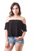 Short Sleeve Off The Shoulder Crinkled Flounce Crop Top