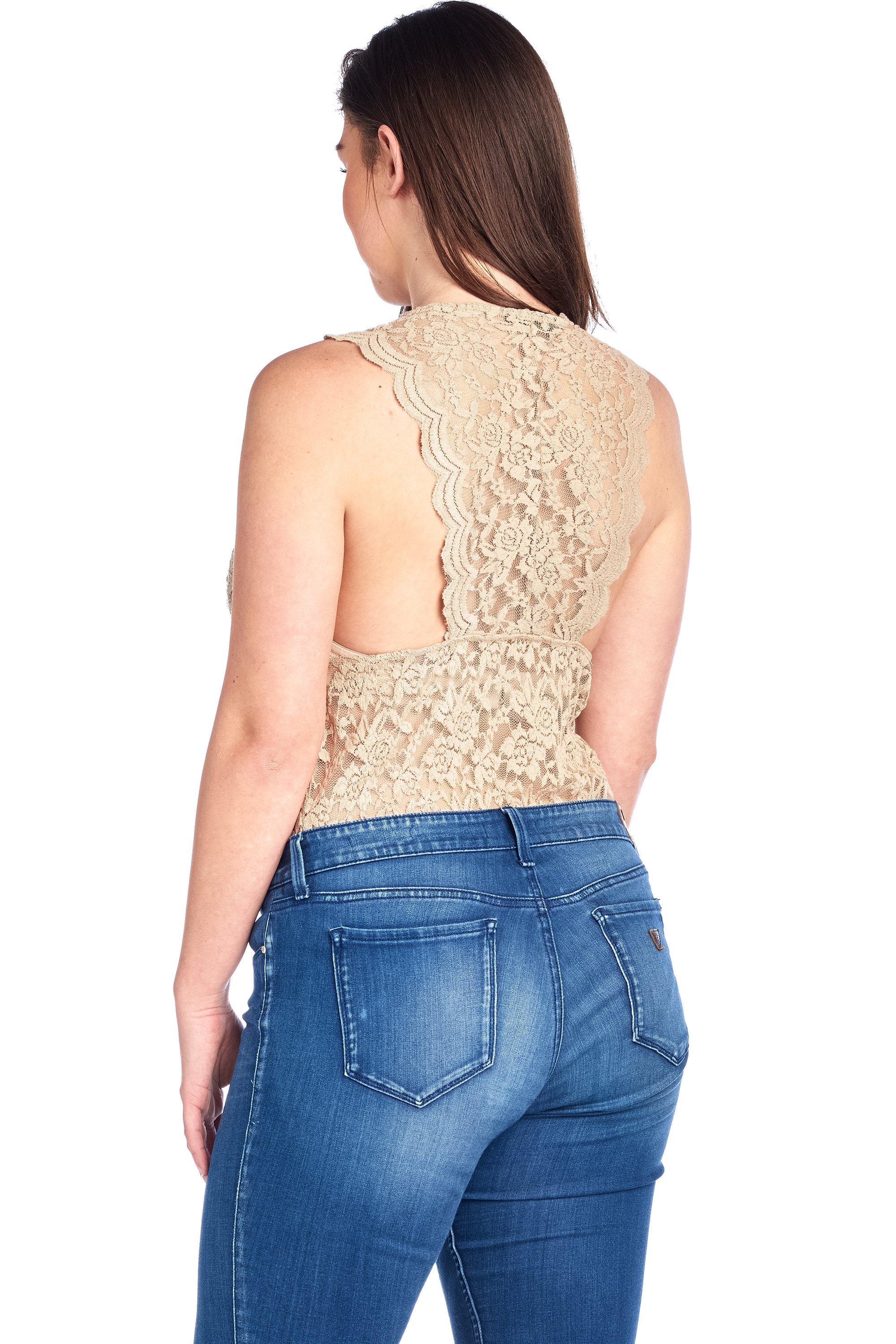 Women's Plus Size Sleeveless V Neck Racer Back Lace Snap Playsuit Bodysuit