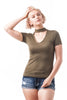 Short sleeve Solid V Neck Choker Cut-Out Top