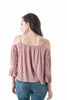 3/4 Ruffle sleeve Open Shoulder Drawstring top
