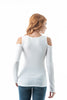 Plain Long Sleeve Open Cold Shoulder Caged V Neckline Top
