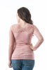 Long Sleeve Sweetheart Neckline Lace Trim Cross Over Back Top