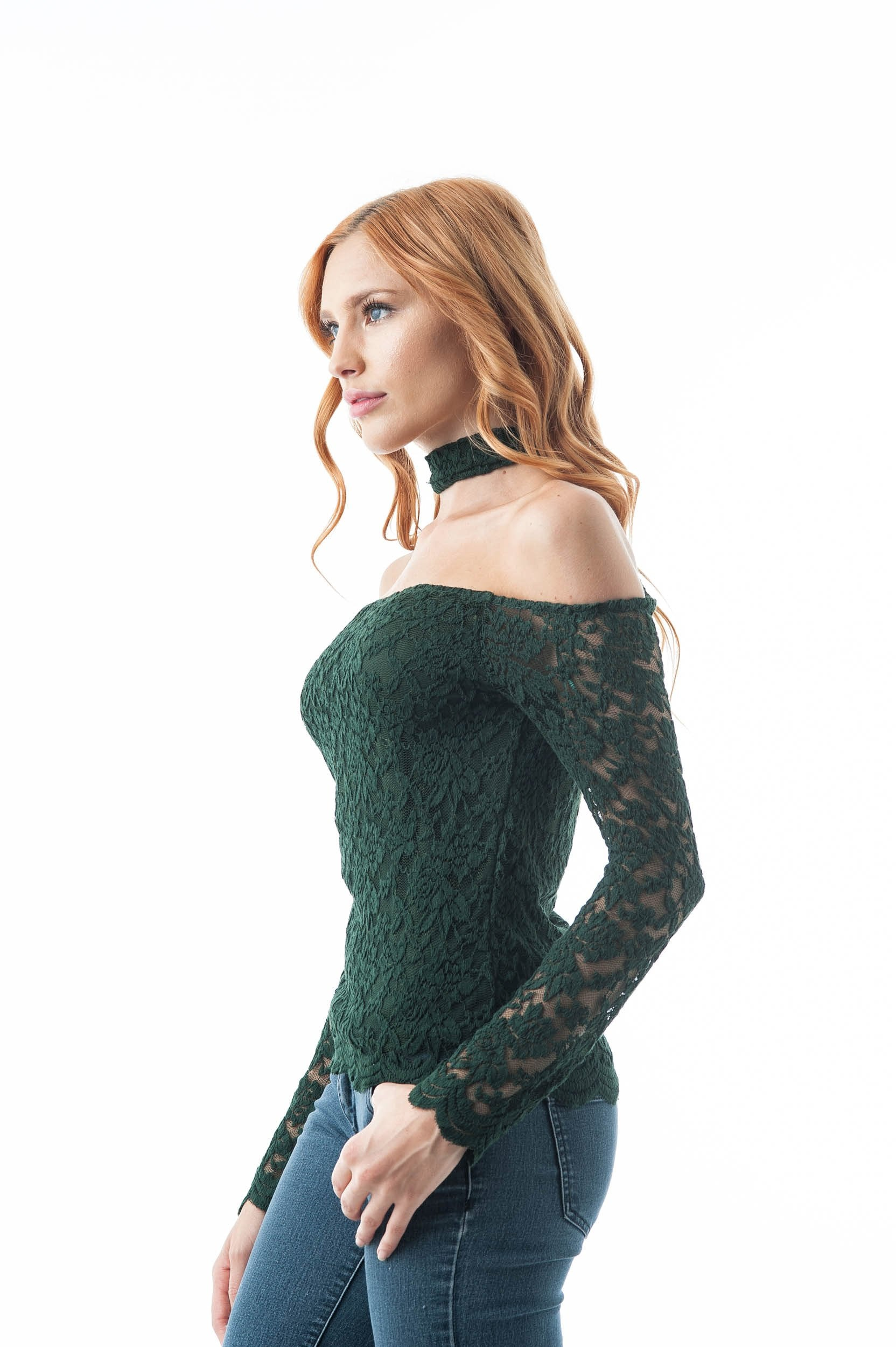 Long Sleeve Lace Crochet Off The Shoulder Choker Back Button Keyhole Top