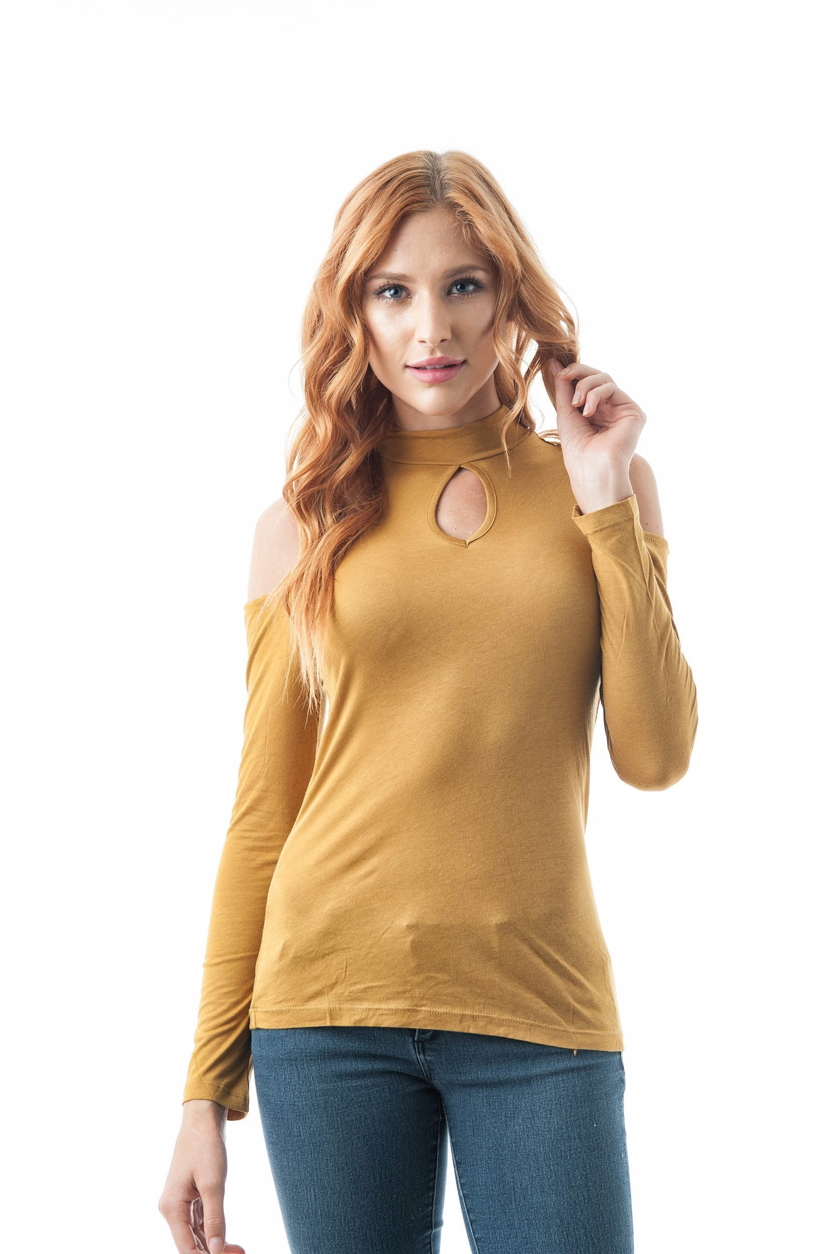 Plain Long Sleeve Open Cold Shoulder Key Hole Mock Neck Top