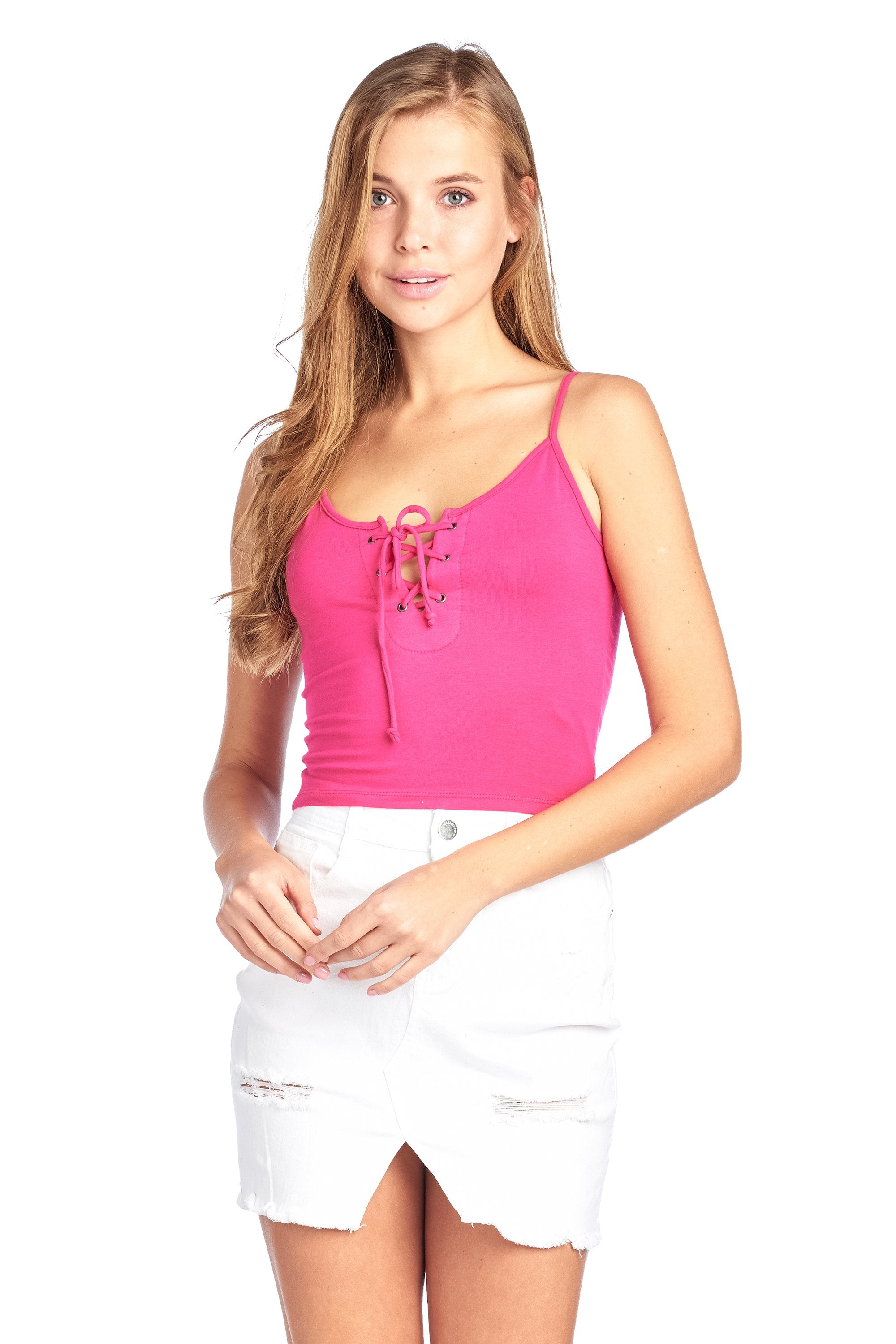 Lace Up Front Adjustable Spaghetti Strap Cami Crop Top