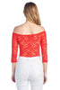 Women's 3/4 Sleeve Off Shoulder Unlined Sheer Allover Lace Bodysuit