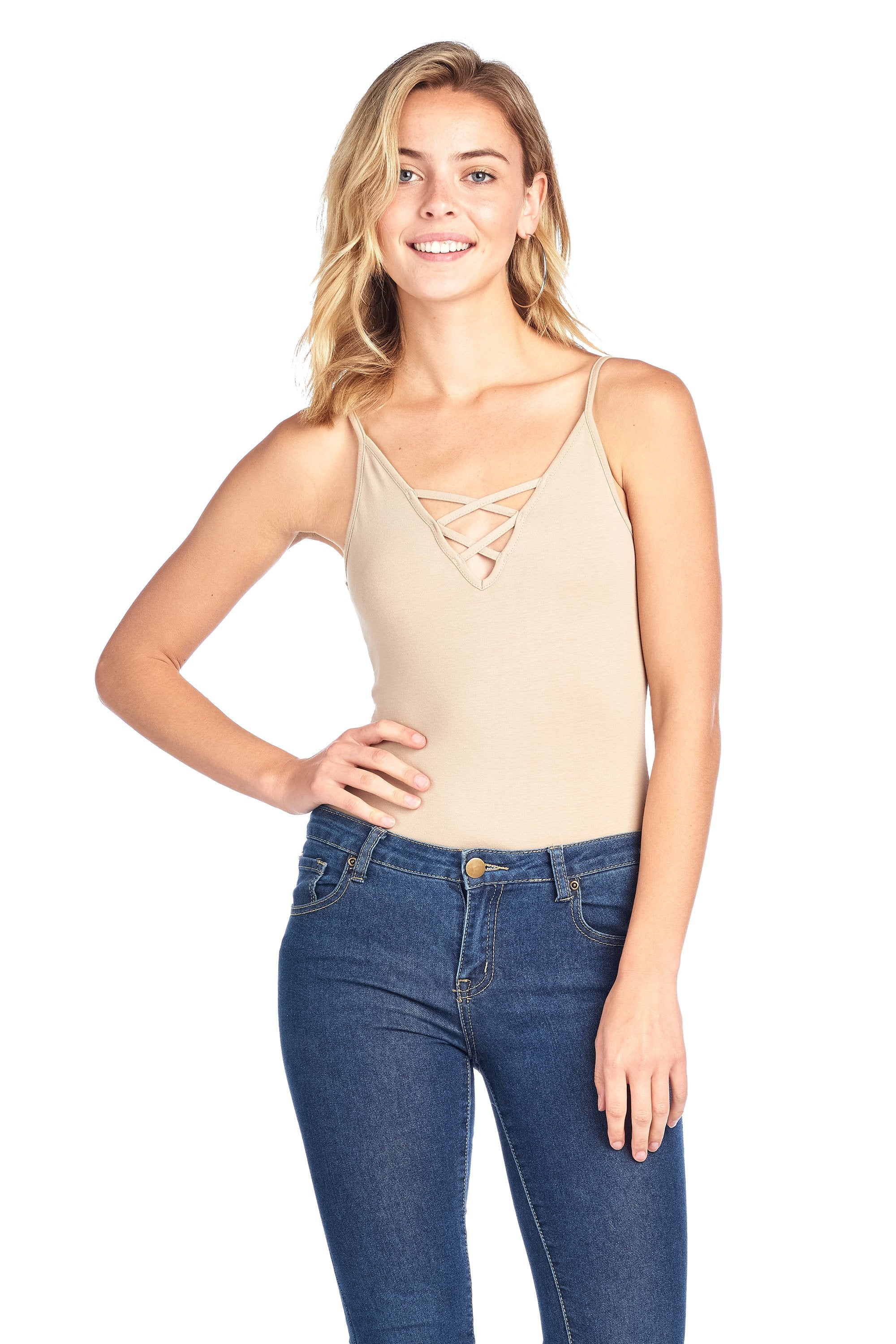 V Neck Crisscross Caged Front Spaghetti Strap Casual Bodysuit